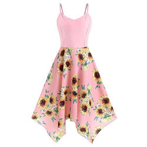 Toimothcn Women's Plus Size Sling Beach Sundress Casual Spaghetti Strap Floral Printed Swing Dress FBA(3 Pink,5X)