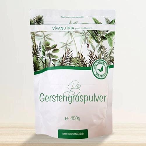 VivaNutria reines Bio Gerstengraspulver 500g I Rohkostqualität aus Deutschland I geprüfte Bio-Qualität mit Schadstoff- & Analyse-Zertifikat I 3-Monats-Packung I Gerstengras gemahlen I vegan