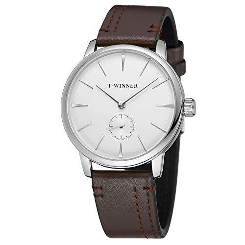 FORSINING Reloj de pulsera para hombre con correa de cuero marrón y esfera blanca