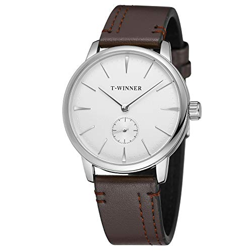 FORSINING Men's Stylish Mechanical Hand-Wind White Dial Brown Leather Band...