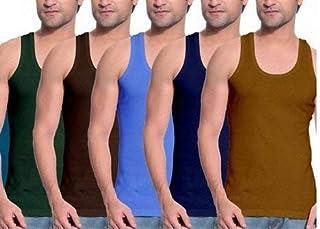 Crazyon Mens Multicoloured fine Vests 100% Cotton Innerwear Combo Pack of 5