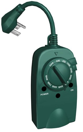 Westinghouse 28451 Outdoor Photocell Timer with Single Grounded Outlet and 6-Inch Cord, Green