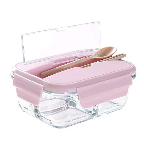 DAMAILE Frischhaltedosen Glas Lunchbox Luftdicht Auslaufsicher mit fächern Ofen Mikrowellengeeignet sicher für Gefrierschrank Pink