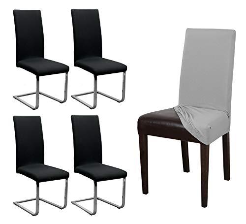 BEAUTEX 4er Set Jersey Stuhlhusse, elastische Stretch Husse Baumwolle Bi-Elastic, Farbe wählbar (Schwarz)