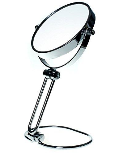 """TUKA Pieghevole Specchio Bagno per Trucco 10X Ingranditori, 5\"""" Doppio Specchio Cosmetico di Viaggio o Domestico, ø 12,5 cm Specchio da Tavolo per Trucco Rasatura, Cromato Vanity Mirror, TKD3124-10x"""
