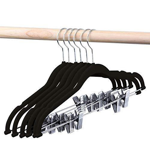 HOUSE DAY Velvet Skirt Hangers 24 Packs Velvet Hangers with Clips Ultra Thin Non Slip Velvet Pants Hangers Space Saving Clothes Hanger Black