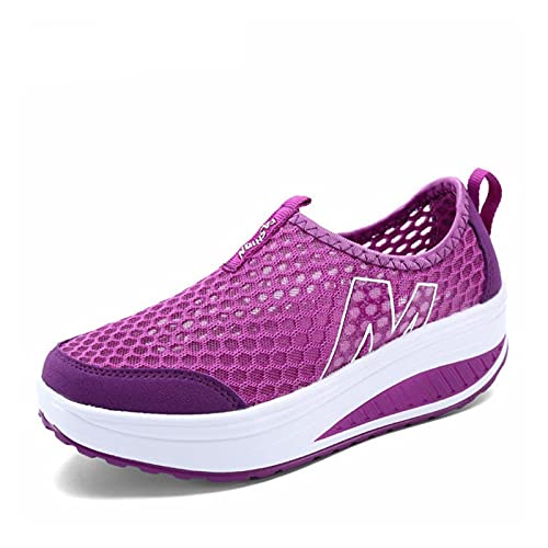 WXDZSW. Buty wiosenne i letnie Oddychające i oddychające siatki Siatki Damskie Buty Damskie One-Foot Damska Miłość Płaskie Klin Buty Damskie (Color : Purple, Shoe Size : 6)