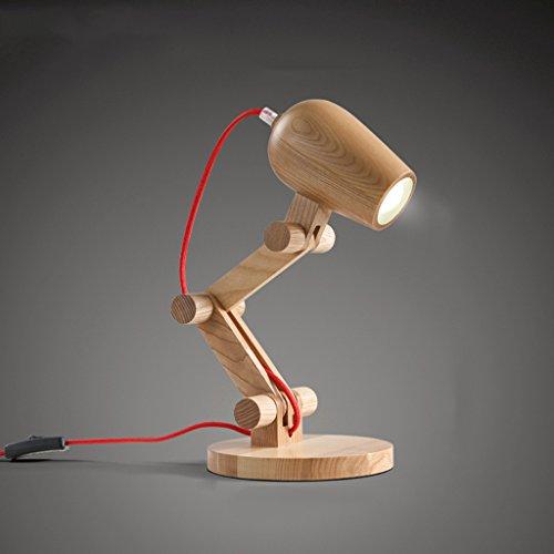 GUOJINE Lampade Da Tavolo Lampada Da Tavolo Moderna In Legno Massello, Lampada Da Tavolo Lampada Da Lavoro Creativa Lampada Da Lettura, Soggiorno Lampada Da Comodino Camera Da Letto, Altezza Regolabil