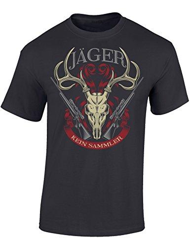 T-Shirt: Jäger Kein Sammler - Geschenk für Jäger - Jägerbekleidung - Jagdkleidung Männer - Waidmannsheil - Hirsch - Geweih - Jägerin - Army - Grau - Hunter - Motiv - Lustig (XXL)