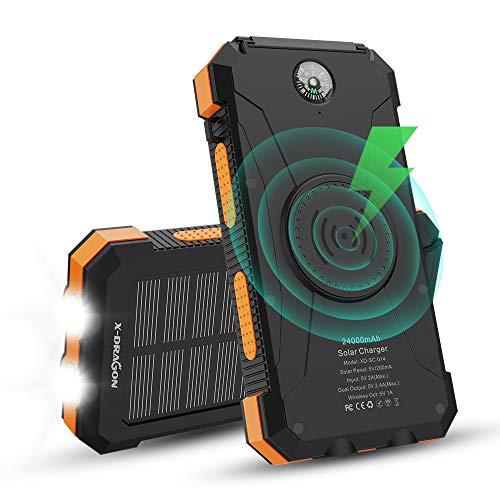 X-DRAGON Caricabatterie Solare, 24000mAh Qi Caricabatterie Portatile Wireless Batteria Esterna con Doppio Ingresso (USB C e Micro), Doppia Torcia, Bussola