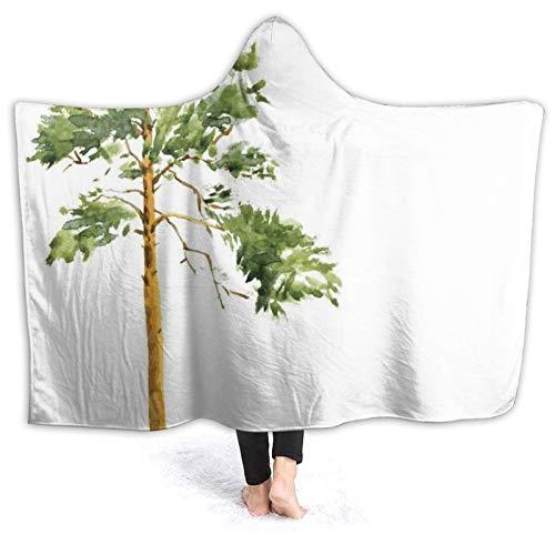 Manta portátil para hombres y mujeres, acuarela boceto de bosque salvaje de la naturaleza bosque, pintura larga de pino americano, súper suave y cálida manta con capucha de 127 x 106 cm