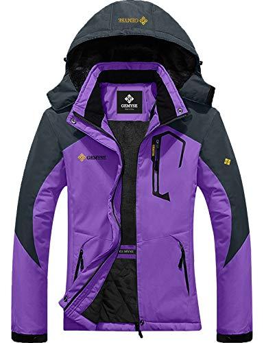 GEMYSE Damen wasserdichte Winddichte Skijacke Winterjacke Wanderjacke Hardshelljacke Regenjacke mit Kapuze(Lila,EU L)