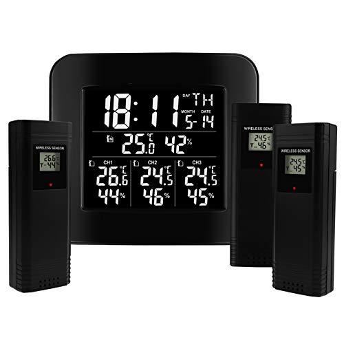 Termómetro de interior de estación meteorológica inalámbrico digital con despertador