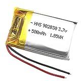 DronePost HHS Batería 902030 LiPo 3.7V 500mAh 1.85Wh 1S Recargable teléfono portátil vídeo mp3 mp4 luz led GPS 32x20x9mm (3.7V|500mAh|902030)