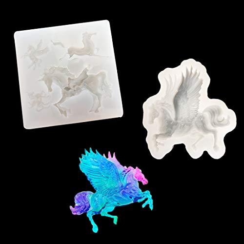 FineInno 2 Pcs Molde de Resina Silicona Epoxi Moldes de Unicornio de Joyería Resin Mold DIY Manualidades de Resina Epoxi Molde Artesanal Transparente (Molde Resina)