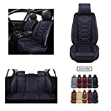 Leather Car Seat Covers, Faux Leatherette Automotive Vehicle Cushion Cover for Cars SUV Pick-up Truck Universal Fit Set for Auto Interior Accessories (OS-004 Front Pair, Black) -  Oasis Auto