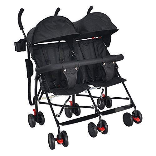 zxmpfg Leichter Zwillingswagen, Zwei nebeneinander fahrbare, zusammenklappbare Kinderwagen, kann im Sommer kühl sitzen und die verstellbare Markise verstellen