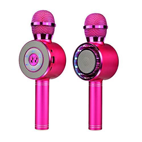 Microfono wireless per karaoke, microfono Bluetooth portatile per bambini, con altoparlante e luci LED, altoparlante portatile con lettore di microfono, per feste di compleanno di Natale (rosa)