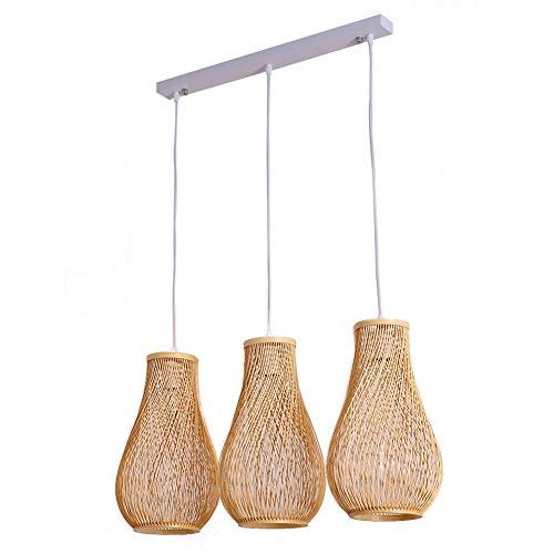 Araña de bambú, Nordic ins net red 3 araña restaurante luz tatami salón de té creativo hecho a mano bar pasillo colgando linternas lámpara de techo tejida a mano (E27)