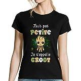 T-Shirt Petite Groot | Je ne suis Pas Petite | Je s'appelle Groot | T-Shirt Femme col Rond Humour, Fun, Mignon | Coloris Noir (S - XXL) idéal pour Cadeau - Collection drôle et Geek S