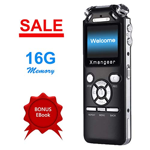 Voice Recorder by Xmangear, Digital Voice Recorder Dictaphone, Small Voice Activated IC Recorder for Lectures, Rechargeable MP3 USB, Black