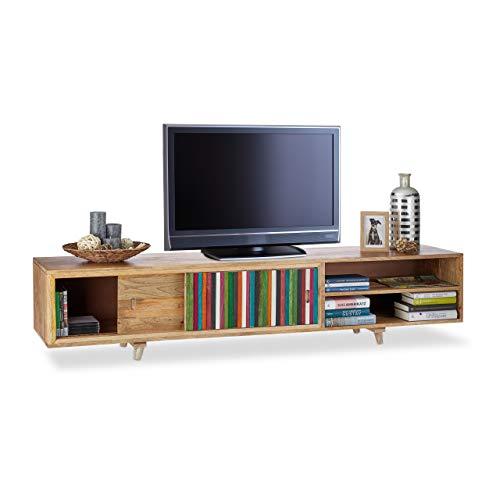 Native Home Meuble Bas TV Bois Massif 3 Casiers Banc Télévision Design Moderne Rayure 43 x 180 x 40 cm, Coloré-Nature