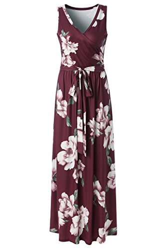 Zattcas Womens Bohemian Printed Wrap Bodice Sleeveless Crossover Maxi Dress,Wine Red,Large