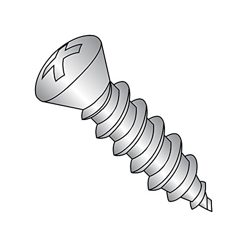 18-8 Stainless Steel Sheet Metal Screw, Plain Finish, #6 Trim Head 82 degrees Oval Head, Phillips Drive, Type A, #8-15 Thread Size, 1-1/2' Length (Pack of 25)