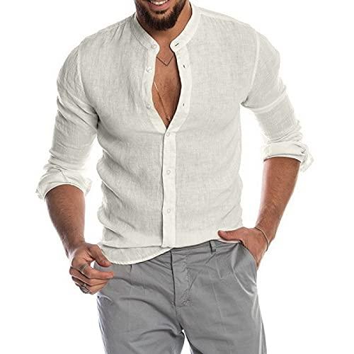 Camisa de Hombre de Moda de Color sólido de Manga Larga Suelta clásica con Botones cómoda Tendencia Salvaje Personalidad Camisa básica XXL