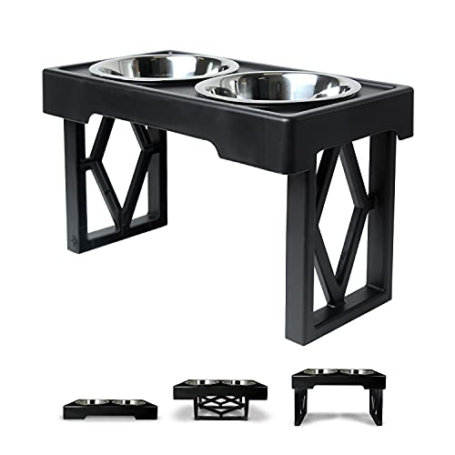 """Pet Zone Designer Diner Adjustable Elevated Dog Bowls - Adjusts to 3 Heights, 2.75"""", 8', & 12'' (Raised Dog Dish with Double Stainless Steel Bowls) Black"""