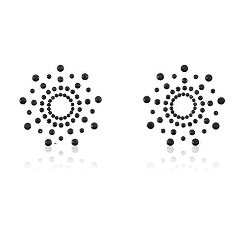 Tinksky Tinksky Womens Nippel Cover Adhesive Pasties Brust Blütenblatt Pasty schwarz BH-Aufkleber wiederverwendbar