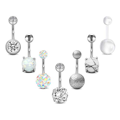 14g Belly Button Rings Surgical Steel CZ with Retainers Navel Ring Barbell for Women Girls Body Piercing Jewelry Rose Gold Silver