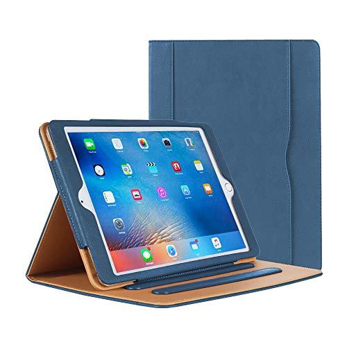 Danycase Schutzhülle für iPad 2 / 3 / 4, Leder, Standfunktion, mit mehreren Betrachtungswinkeln, Kartenfach (Marineblau)