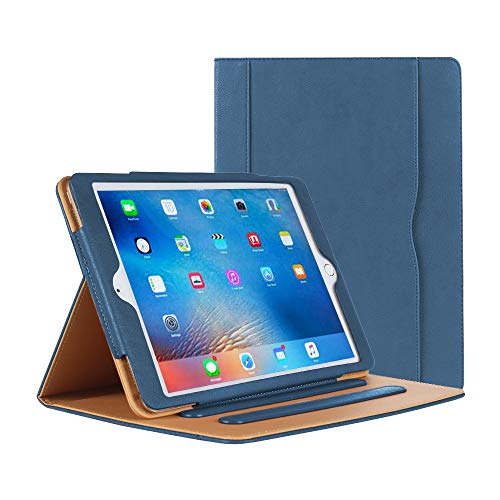 Danycase Case for iPad 2 iPad 3 iPad 4Case Leather Stand Folio Case Cover for Apple iPad 2/3/4Case with Multiple Viewing Angles, Document Card Pocket (Navy)