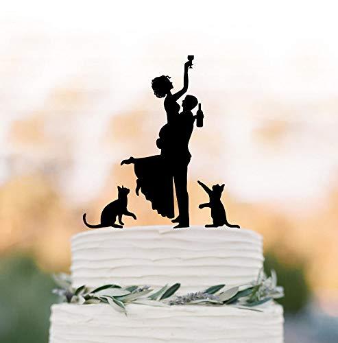 Divertida decoración para tarta de boda con dos gatos de silueta de novia, divertida figura decorativa para tarta