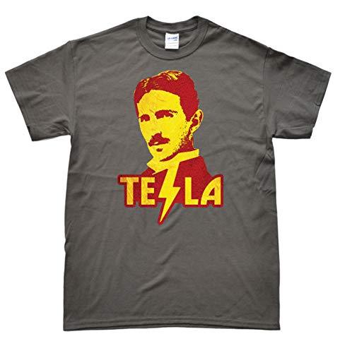 JeKAt Nikola Tesla Dunkelgrau T-Shirt, Größe L
