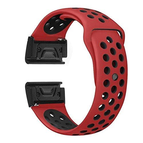 OLBGELYING 2021, Silicone Watch Band Strap Strap Reemplazo Forgardmin Fenix 6 6X 6s Pro 5X 5X 5s Plus Sport Smart Watch Pulsera (Band Color : Red Black, Band Width : Fenix 5X 5xplus)