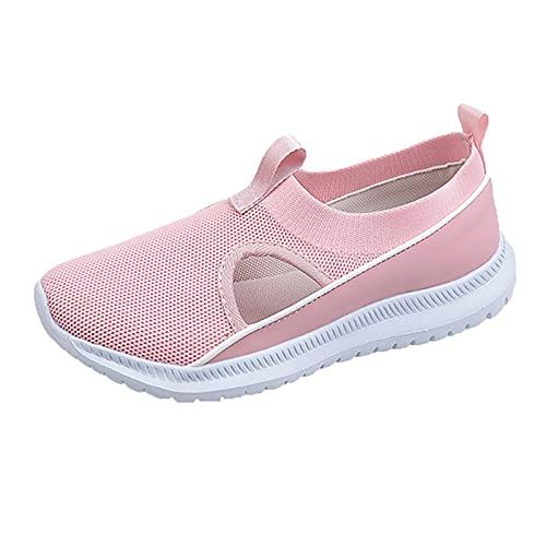 QIUTIANQ Zapatos Casuales del Talón De La Cuña De La Plataforma del Amortiguador De Aire De La Malla,Calzado Deportivo para Exteriores, Plano Y Transpirable,Zapatos De Mujer (Rosa, 36)