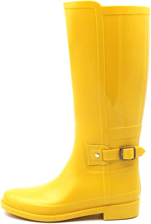 CHENSF Women's Mid Calf Knee High PVC Rain Round Toe Rainboots