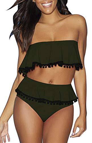JFAN Costumi da Bagno Donna A Vita Alta Bikini Sexy Backless Due Pezzi di Balza in Nappa Parte Superiore del Tubo Slim Controllo Pancia Sottile Spalle Scoperte