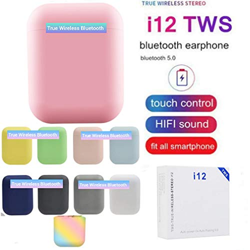 Wireless Bluetooth 5.0 Earbuds i12 inPods Touch Headphones with Charging Box TWS Headset (Pink inPods)