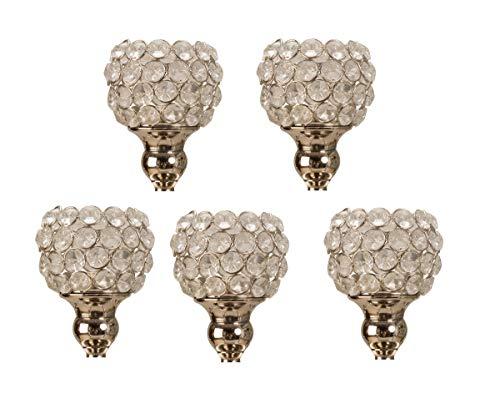 Geschenkestadl 5 Stück Glasaufsatz mit Metall Silber für Kerzenständer Kerzenleuchter Aufsatz Windlicht