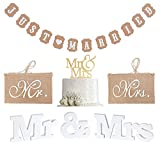 MR & MRS Set de decoración, letras de boda, decoración de madera blanca, guirnalda recién...