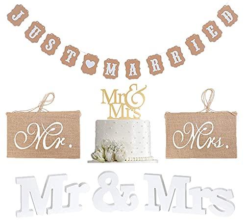MR & MRS Set de decoración, letras de boda, decoración de madera...