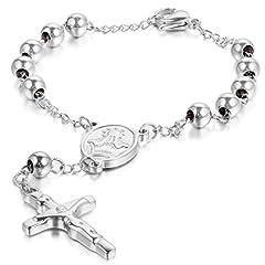 Idea Regalo - JewelryWe Gioielli Bracciali in Acciaio Inossidabile Perline Jesus Gesu Cristo Crocifisso Croce da Uomo, Collana Preghiera, Natale Regalo