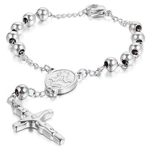 JewelryWe Schmuck Herren Damen Armband, Jesus Kruzifix Kreuz Kugel Armkette Armreif, Edelstahl, Silber