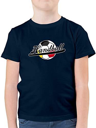 Handball WM 2019 Kinder - Handball Deutschland - 104 (3/4 Jahre) - Dunkelblau - Tshirt Handball Kinder - F130K - Kinder Tshirts und T-Shirt für Jungen
