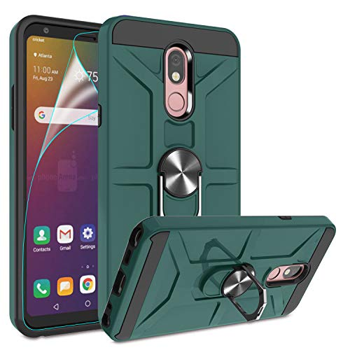 LG Stylo 5 Case, LG Stylo 5 Plus/Stylo 5V/Stylo 5X Case with HD Screen Protector, Atump 360° Ring Kickstand [Work with Magnetic Car Mount] PC+ TPU Phone Case for LG Stylo 5, Midnight Green