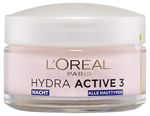 L'Oréal Paris Nachtpflege für das Gesicht, Anti-Aging Feuchtigkeitspflege mit Omega 3 und 6, Feuchtigkeitspendende Gesichtscreme für die Nacht, Hydra Active 3, 1 x 50 ml