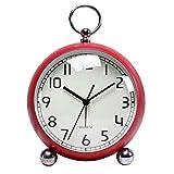 YANGYUAN Reloj clásico retro, rojo de mesa despertador, estilo europeo, silencioso, movimiento de cuarzo, funciona con pilas (color: rojo)
